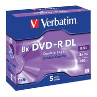 Verbatim DVD+R DL 8.5GB Jewel Case 8x (5 Pack)
