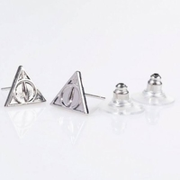 Harry Potter: Deathly Hallows Necklace And Stud Earring Set - Silver