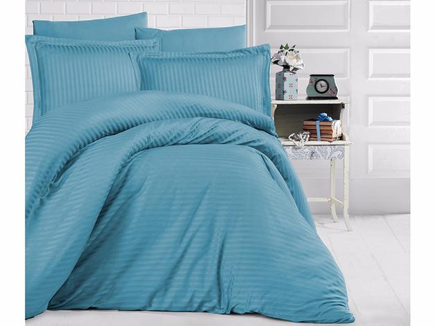 Queen Size Stripe Satin Duvet Cover Set - Turquoise
