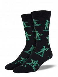 Men's Army Men Crew Socks -Black