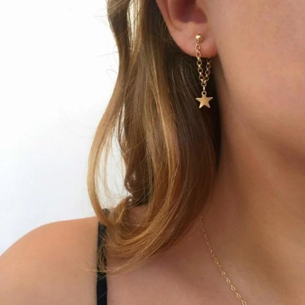 Katy B Jewellery: Star chain earrings - Gold