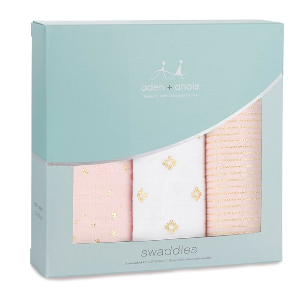 Aden + Anais: Metallic Dream Swaddle - Primrose (3 Pack Swaddling Wraps)
