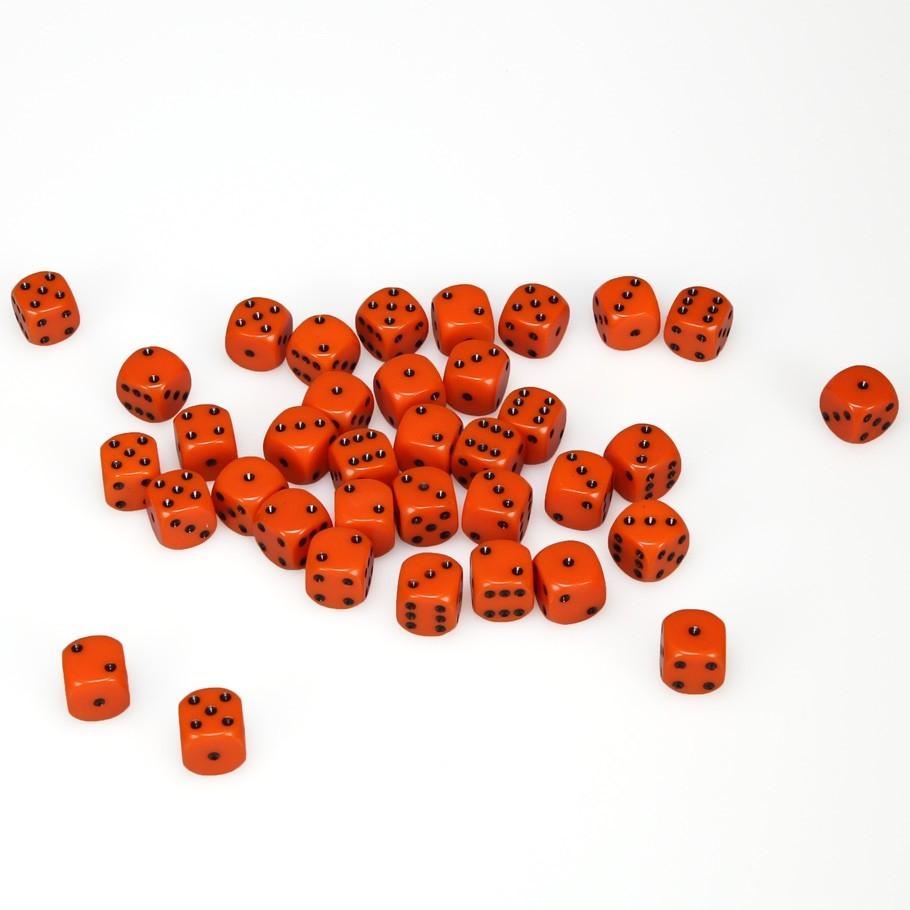 Chessex: D6 Opaque Cube Set (12mm) - Orange/Black image