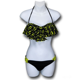 Batgirl Ruffle Bandeau Bikini with Loop Bottom (Large)