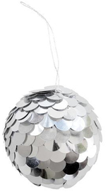 Silver Sequin Ball Hanging Christmas Decoration
