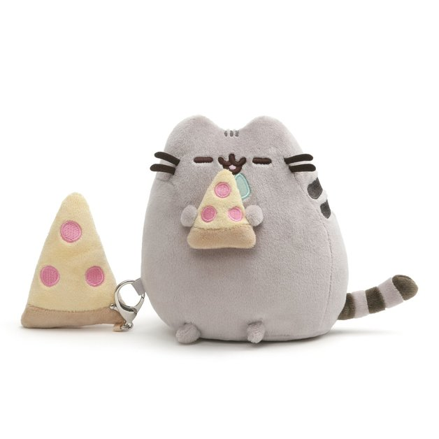 Pusheen Plush & Keychain Giftset - Pusheen With Pizza
