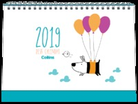 Collins 2019 Desk Calendar - Dog & Bird