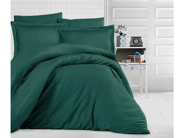 Queen Size Stripe Satin Duvet Cover Set - Dark Green