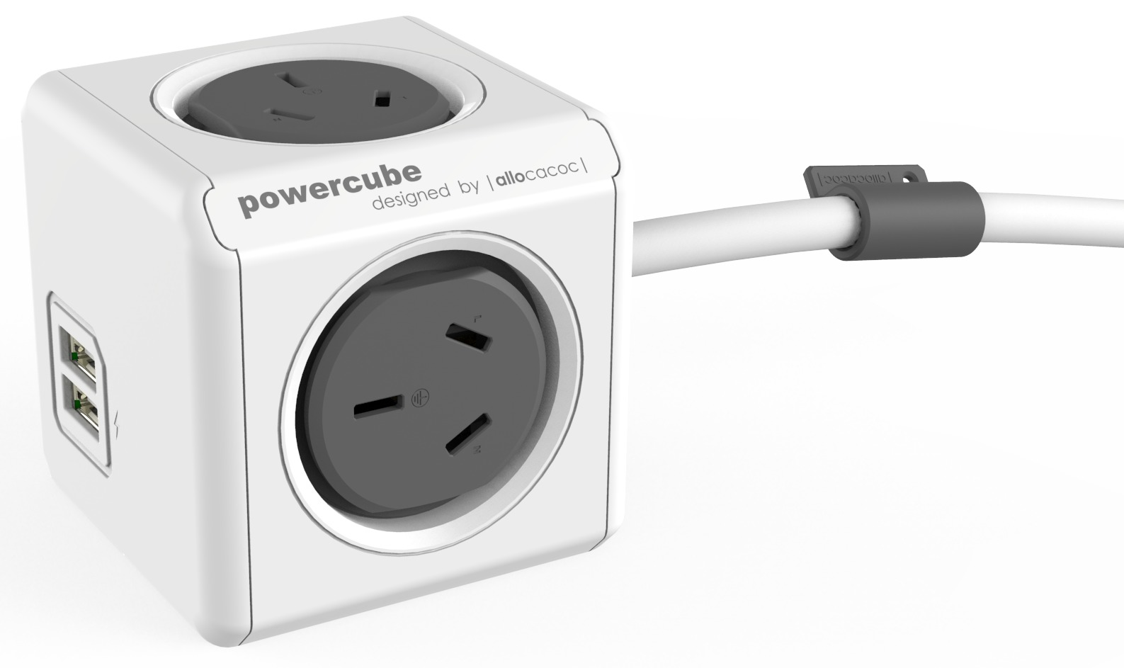 allocacoc PowerCube Extended USB 3m - 4 Outlets, 2 USB image