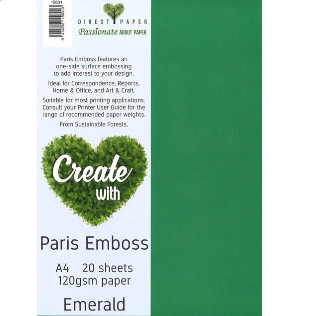 Paris Emboss Paper 120gsm A4 - Emerald (20 Pack)