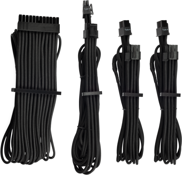 CORSAIR Premium Sleeved Type 4 Gen 4 PSU Cables Starter Kit Black