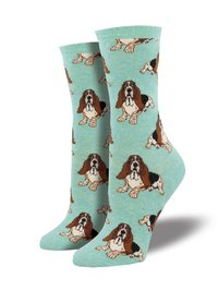 Womens - Heather Mint Nothing But A Hound Dog Crew Socks