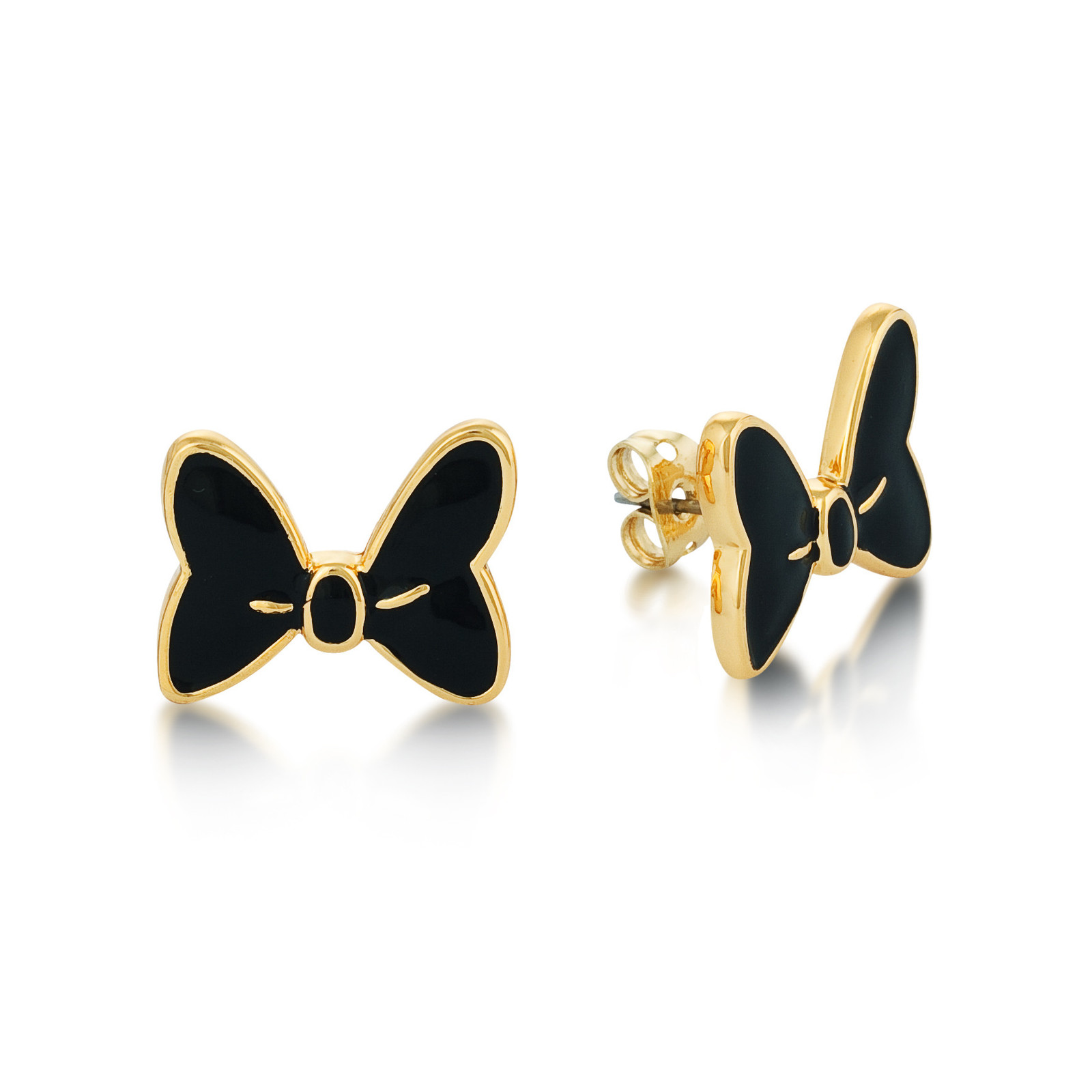 Couture Kingdom: Disney Minnie Mouse Black Bow Studs - Yellow Gold image