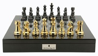 "Dal Rossi: Gold/Titanium - 20"" Chess Set (Carbon Fibre)"