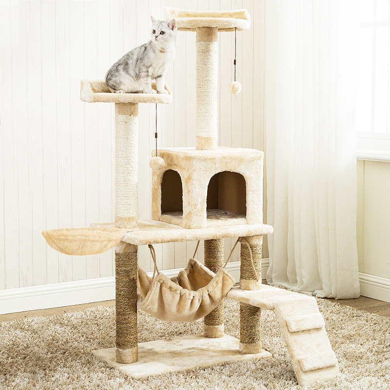 Cat Tree (6 Levels) With Hammock 1.4M - White / Light Brown image