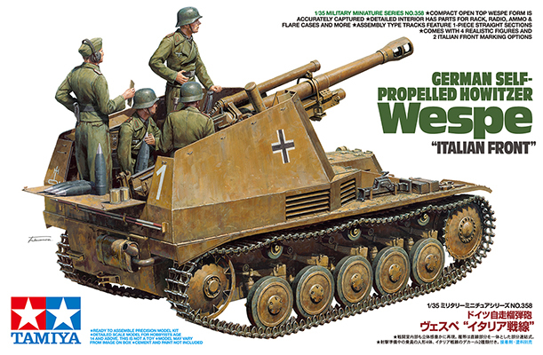 "Tamiya 1/35 German Self-Propelled Howitzer - Wespe ""Italian Front"" Scale Model Kit"