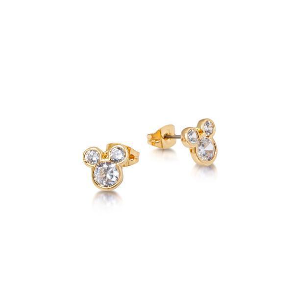 Disney: Crystal Mickey Head Studs- Yellow Gold