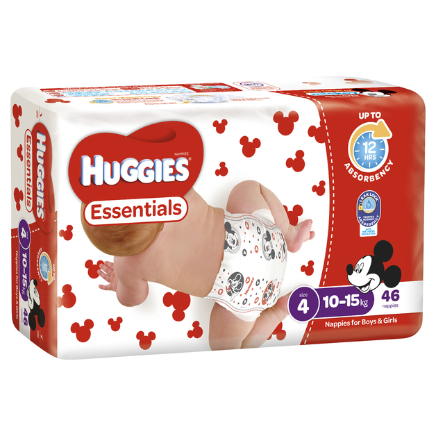 Huggies Essentials Nappies Bulk - Size 4 Toddler (46)