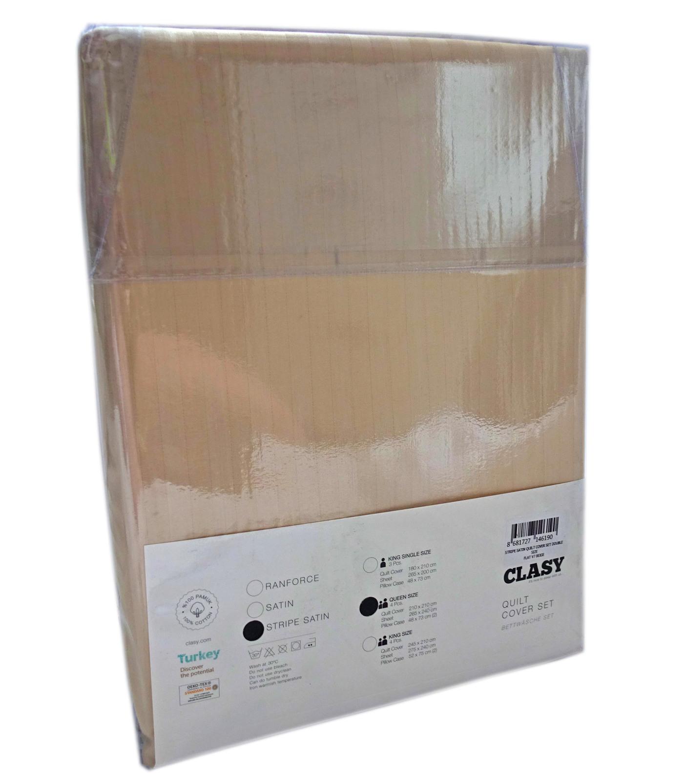 Clasy: Stripe Satin Duvet Cover Set (Queen) image