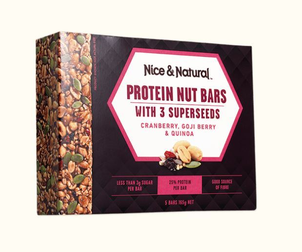 Nice & Natural Protein Nut Bars - Cranberry Goji Berry & Quinoa (165g) image