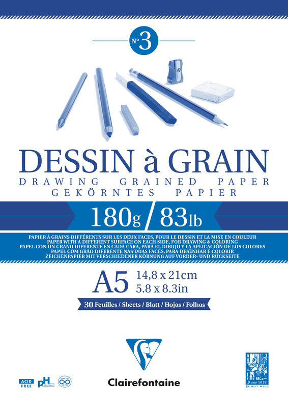 Clairefontaine: Dessin a Grain Glued A5 Sketch Pad - 180g 30 Sheets