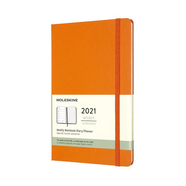 Moleskine: 2021 Diary Large Hard Cover 12 Month Weekly - Cadmium Orange