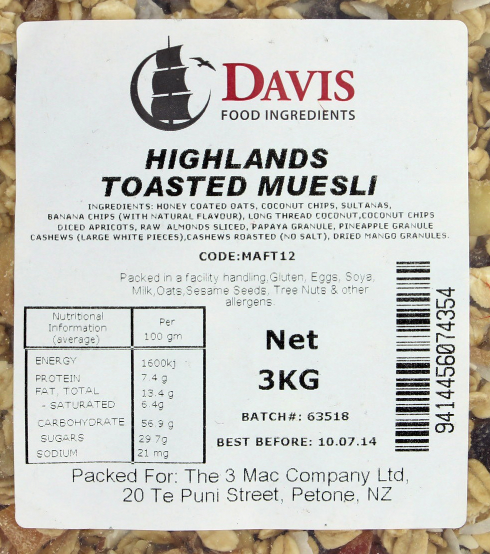 Davis Highlands Toasted Muesli (3kg) image