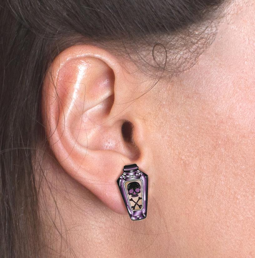 Purple Poison Bottle Stud Earrings image