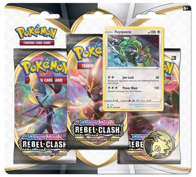 Pokemon TCG: Sword and Shield Rebel Clash Three Booster Blister- Rayquaza