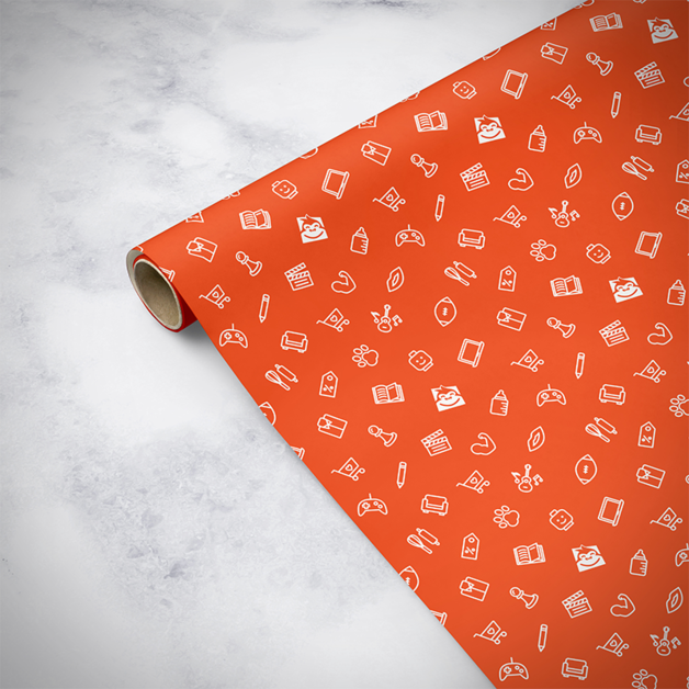 Gorilla Gift: Wrapping Paper - Everyday Orange (5m)