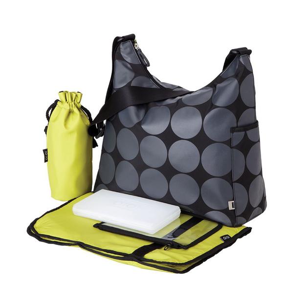 Oi Oi: Hobo Nappy Bag - Grey Dot w/ Green Lining