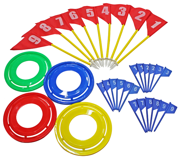 Flying Ring Golf Game Set with 4 Flying Ring + 9 Flag + 18 Tee-off Flag