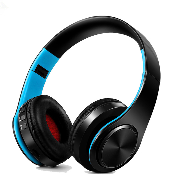 Ape Basics: Portable Wireless Bluetooth Stereo Foldable Headphones - Blue