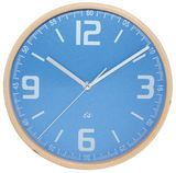Wall Clock Wood with Powder Blue Face - 22 cm