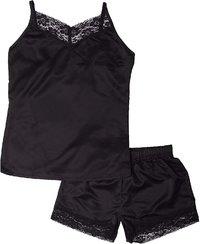 Elle: Ladies 2 Piece Satin Cami Set - Black (Small)