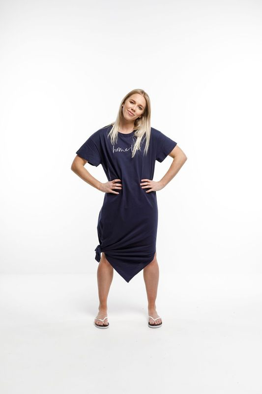 Home-Lee: Boyfriend Midi Dress - Navy With White Home Lee Embroidery - 8