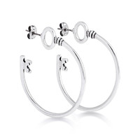 Disney Alice in Wonderland Key Hoop Earrings - White Gold