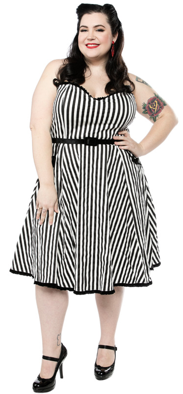 Sourpuss: Striped Sweetheart Dress Black/White (Large)