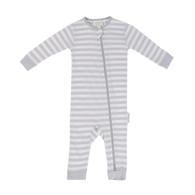 Woolbabe Merino/Organic Cotton Sleepsuit - Pebble (6-12 Months)