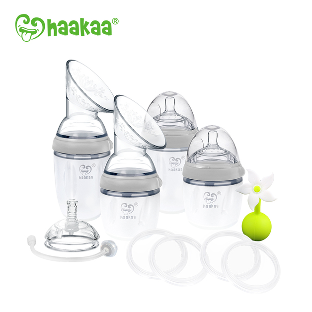 Haakaa: Generation 3 Silicone Breast Pump and Bottle Premium Pack - Gray