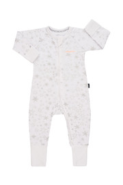 Bonds Zip Wondersuit Long Sleeve - Glittered Galaxy White (New Born)