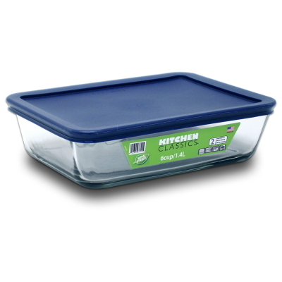 Rectangular Glass Container With Blue Lid - 6 Cup