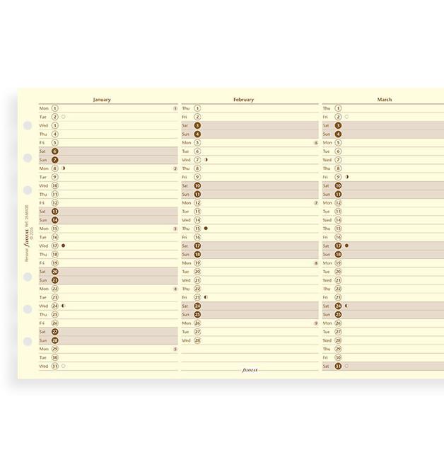 Filofax: Personal 2020 Refill - Year Planner - Cotton Cream (Vertical)