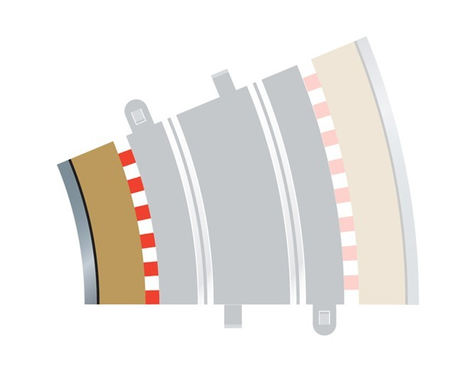 Scalextric 22.5 Degree Radius 3 Curve Inner Track Borders image