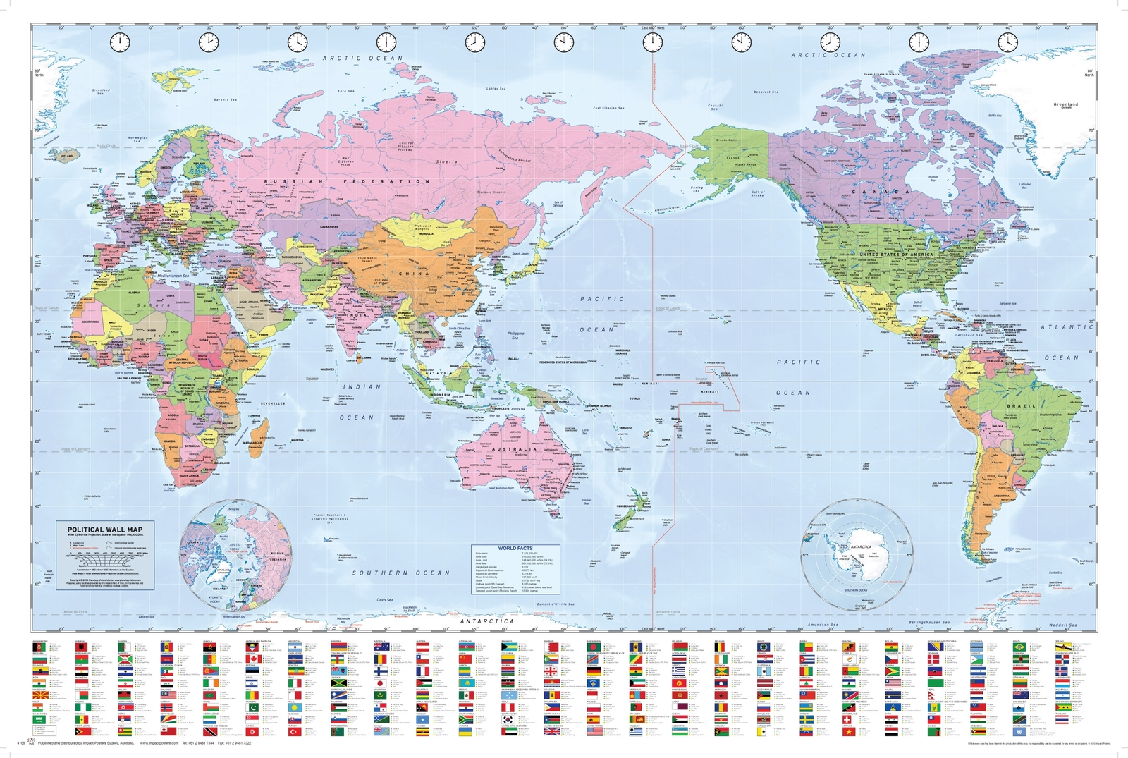 World Map Pacific Centralised Wall Poster (41) image