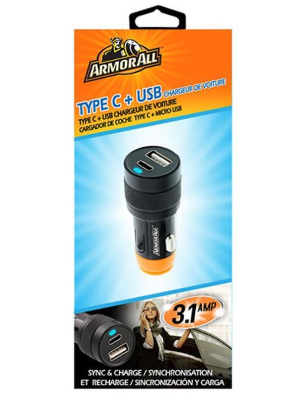 Armor All: Type C & USB Dual Port Car Charger 3.1A