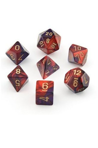 Chessex Gemini Polyhedral Dice Set Purple-Red/Gold