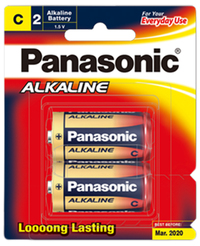 Panasonic Alkaline Size C Batteries - 2 Pack