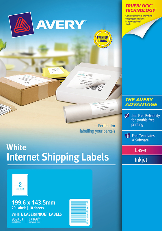 Avery White Internet Shipping Labels 199.6mm x 143.5mm Pkt20