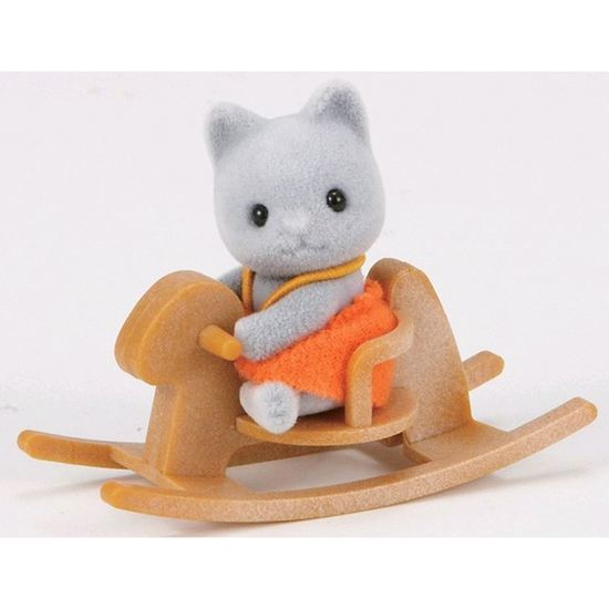 Sylvanian Families: Gray Cat Baby with Rocking Horse